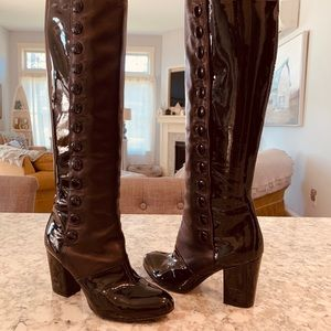 CHANEL Lambskin Button Up Boots Size 5 1/2